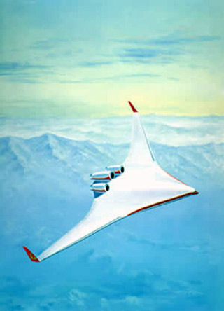 Sketch of a blended-wing-body aircraft in flight.