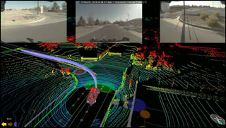 Image combining data taken by an autonomous vehicle with the views from its windows.