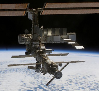 Photo of the International Space Station photographed from the departing Space Shuttle Atlantis.