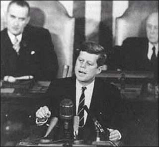 President Kennedy addresses the U.S. Congress.