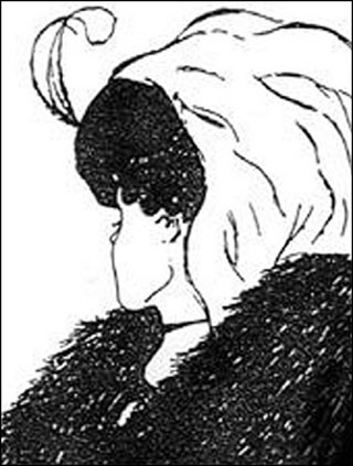 Drawing of a young lady or an old woman depending on your point-of-view.