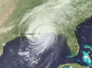 Satellite image of Hurricane Katrina off the Gulf coast.