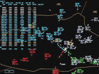 Screen shot of air traffic management software showing many colored regions representing planes.