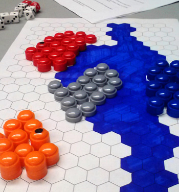 Game board setup for Roman Conquest: The First Triumvirate, showing pieces and dice.