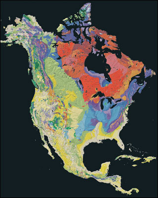 A map of North America with colors that represent the ages of the underlying rocks.
