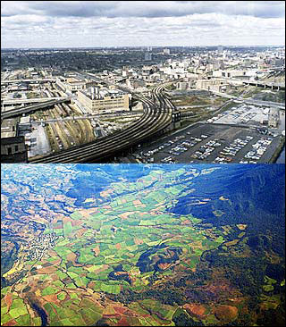 Two aerial photos, one of undeveloped land in Mexico, the other an industrial city.