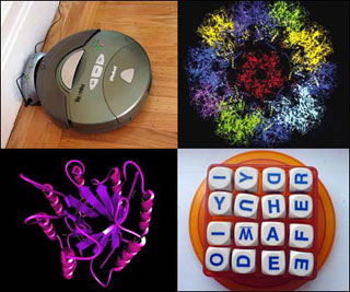 Four small images: a virus structure, a Roomba robot, a protein structure, and a word game.