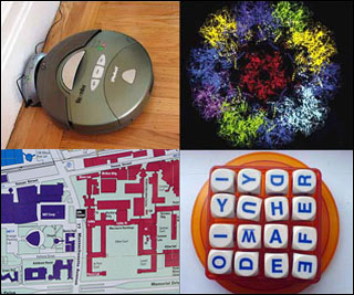 Photograph of a Roomba vacuum robot, virus model, MIT campus map, and Boggle game board.