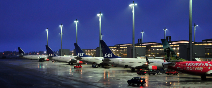Planes near the runway at Gardermoen airport near Oslo, Norway