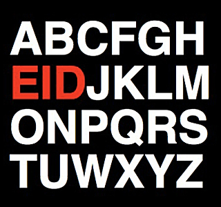 "Assortment of English alphabets in white with ""E,"" ""I,"" and ""D"" three letters highlighted in red in black background."
