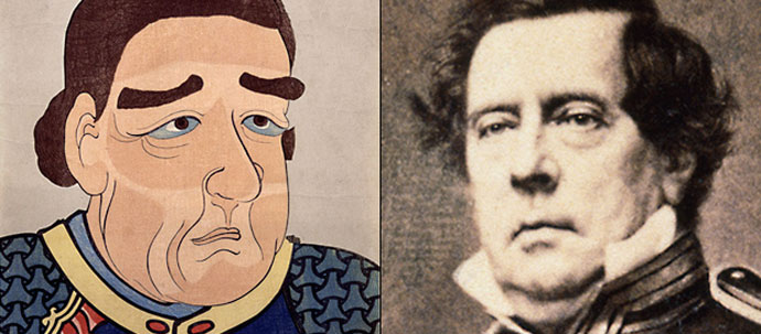 an illustration and a painting of a man from the 1800s