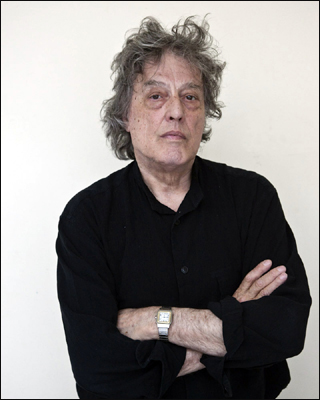 Photograph of the playwright Sir Tom Stoppard at a rehearsal for a new play.
