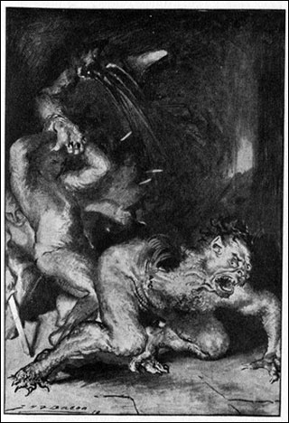 Black and white illustration of a man, Beowulf, tearing the arm and shoulder off a monster, Grendel.