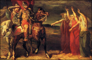 A painting of two men on horseback encountering three elderly women with their arms raised.