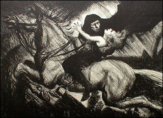 A dark figure in a black hood overcomes a swooning young boy riding a white horse.