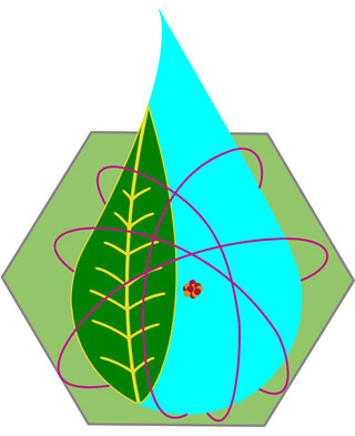 Logo combines electron orbits, a leaf, a water drop, an atomic nucleus, and the hexagon shape of a reactor core.