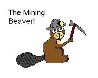 A drawing of a beaver wearing a mining hat.