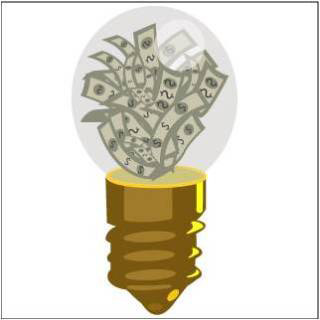 Lightbulb filled with cash.