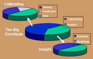 A pie chart dividing system dynamics into calibrating and insight.