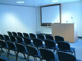 A photo of an empty lecture room.