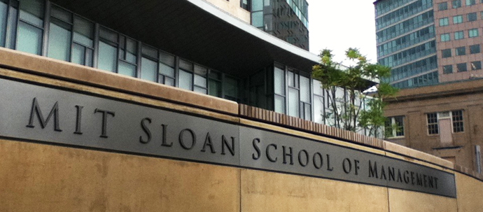 "A photo of a sign reading ""MIT Sloan School of Management""."