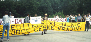 A photograph of environmental protesters in the Czech Republic.