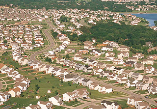 Suburban community filled with new houses.