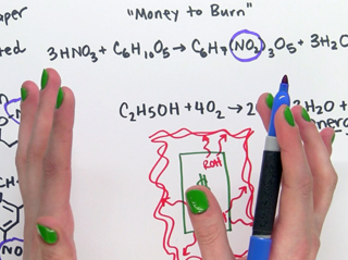 Two hands are writing on a white background. Each fingernail is painted bright green, and the writing surface has chemical formulas written in black, blue, and red.