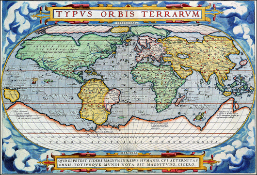 A colorful map of the way the world was understood in the 16th century.